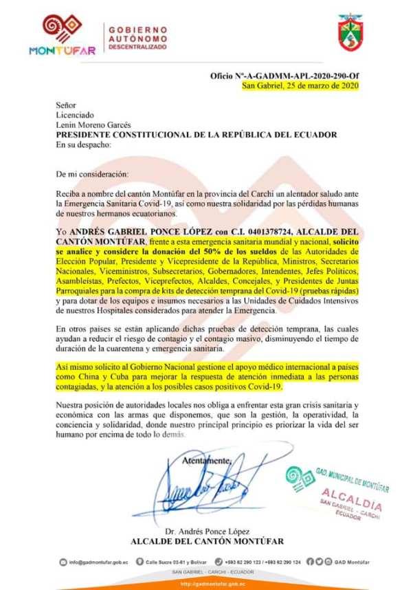 Andrés Ponce carta a Lenin Moreno